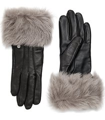 dyed shearling trimmed leather gloves