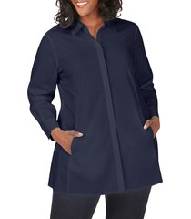 plus size women's foxcroft cici stretch tunic shirt, size 20w - blue