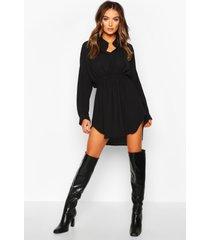 geweven blouse jurk met geplooide taille, zwart