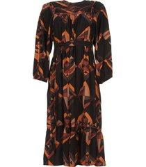 midi-jurk met grafische print delhine  zwart