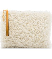 marni shearling cluch bag - white