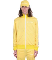 palm angels classic track sweatshirt in yellow polyester