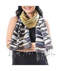 batik silk scarf, 'autumn teak' (thailand)