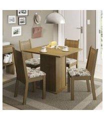 conjunto sala de jantar kate madesa tampo de madeira com 4 cadeiras rustic/lírio bege