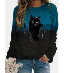 camicetta a maniche lunghe con stampa notturna di gatto nero plus