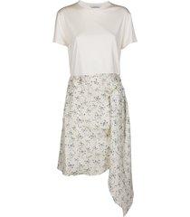 lanvin cream silk and viscose-blend dress