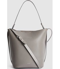 reiss hudson - leather bucket bag in grey, womens