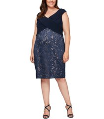 alex evenings plus size sequined lace crossover dress