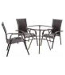 conjunto 3 cadeiras e mesa alta sem tampo bela, jardim, fibra sintetica tabaco