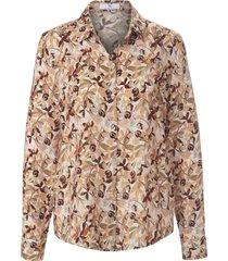 blouse bladerprint en lange mouwen van peter hahn beige