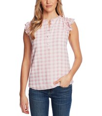 cece gingham-print ruffled top