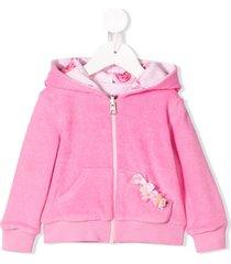 lapin house reversible rose & bow hoodie - pink