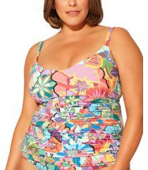 bleu by rod beattie plus size printed underwire tankini top women's swimsuit
