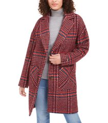 tommy hilfiger drop shoulder plaid reefer coat