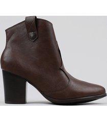 bota feminina country com recorte marrom