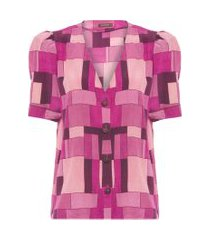 camiseta feminina mondrian - rosa