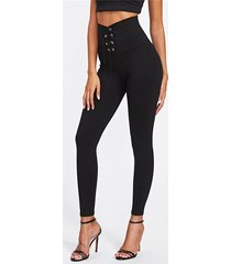 cordones negros diseño con cintura alta pantalones