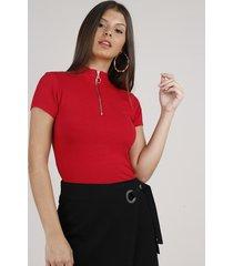 blusa feminina canelada com zíper de argola manga curta gola alta vermelha