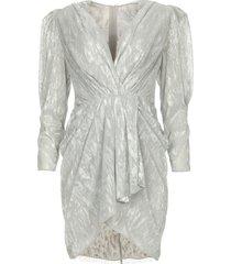 gedrapeerde metallic jurk daz  silver