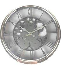 relógio de parede estilo mecânico vintage detalhes prata 30x30 - minas