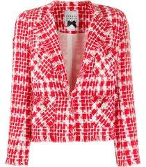 edward achour paris geometric frayed-edge blazer - red