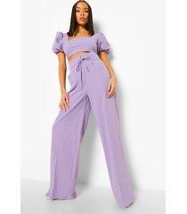 linnen wide leg broek met hoge taille, lilac