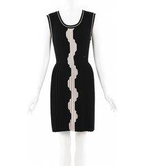 chanel geometric wool knit pleated dress beige/black sz: s