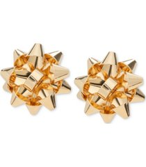 holiday lane gold-tone bow stud earrings, created for macy's