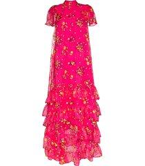 erdem aurelia tiered floral-print tulle gown - pink