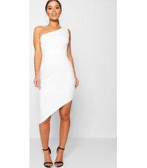 petite asymmetrische bodycon jurk met eén schouder, wit