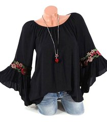 flower applique bell sleeve tunic blouse