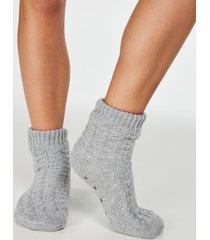 hunkemöller slipper strumpor knitted grå