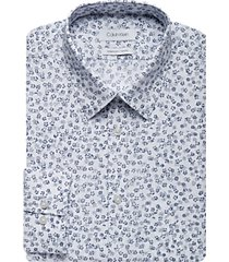 calvin klein white & blue floral extreme slim fit dress shirt