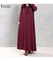 zanzea mujeres otoño retro vestido o-cuello de manga larga bolsillos botones decoración sólidos maxi algodón elegante largo vestidos (vino tinto) -rojo