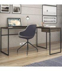 mesa para escritório erica 1 gaveta amêndoa negra/preto - novabras