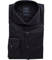 overhemd profuomo slim fit zwart strijkvrij