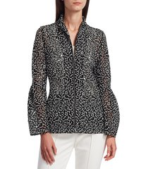 akris punto women's embroidered trumpet-sleeve jacket - black jasmine - size 10
