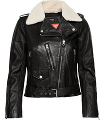 aviator leather biker leren jack leren jas zwart superdry