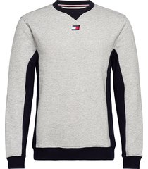 blocked fleece crew sweat-shirt tröja grå tommy sport