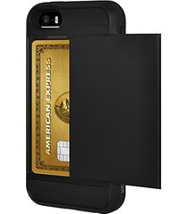 amzer full body hybrid credit card case with holster - black for iphone 5 / 5s