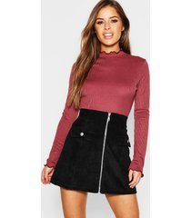 petite lettuce hem turtle neck top, wine