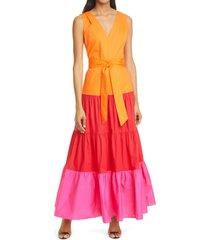 women's milly nicola sleeveless poplin tie waist maxi dress, size 0 - red