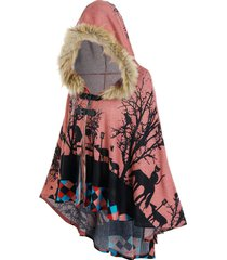 hooded forest cat print high low cape
