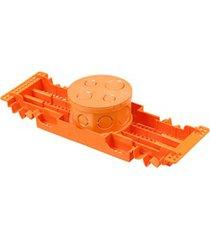 """caixa de luz octogonal em pvc fundo móvel com suporte para lajota 4x4"""" laranja"""