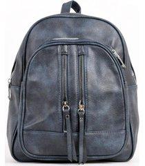 mochila bolsillo con 2 cierres azul mailea