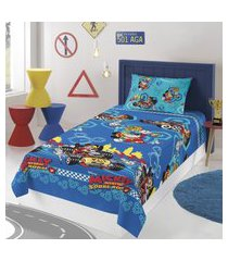 jogo de cama solteiro lepper mickey 2 peças microfibra azul