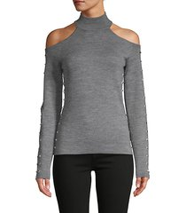 cold-shoulder wool-blend top