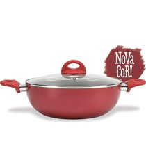 wok malagueta c/ tampa 28cm 4,1l brinox vermelho