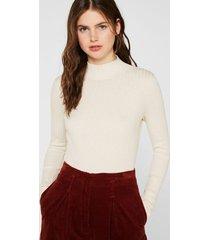 sweater de canalé con cuello alto crudo esprit