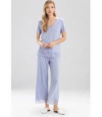 natori fleur short sleeve pajamas, women's, blue, cotton, size xl natori